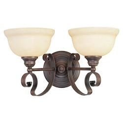 Imperial Bronze 2 Light 200W Bathroom Light with Medium Bulb Base and Vintage Scavo Glass from Manchester Series