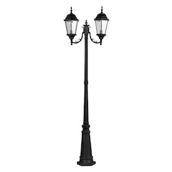 Black 2 Light 200W Post Light With Medium Bulb Base And Clear Beveled Glass From Hamilton Series