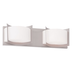 Brushed Nickel Wave 2 Light Bathroom Vanity Light