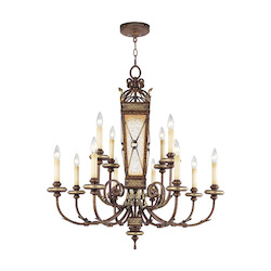 Palacial Bronze With Gilded Accents 12 Light 720W Chandelier With Medium Bulb Base And Antiqued Mirrored Column Glass From Bristol Manor Series