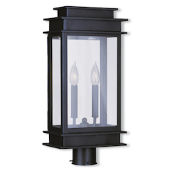 Bronze 2 Light 120 Watt 9.5in. Wide Outdoor Post Light with Clear Glass from the Princeton Collection