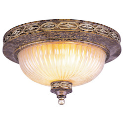 Palacial Bronze with Gilded Accents 3 Light 180W Flushmount Ceiling Light with Medium Bulb Base and Hand Crafted Gold Dusted Art Glass from Seville Series