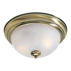 Antique Brass 2 Light Flushmount Ceiling Light with Medium Bulb Base and White Alabaster Glass from Home Basics Series