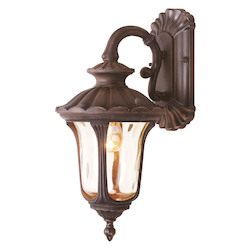 Imperial Bronze 1 Light 100W Down Lighting Wall Sconce with Medium Bulb Base and Iced Cased Glass from Oxford Series