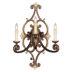 Palacial Bronze With Gilded Accents 3 Light 180 Watt 19In. Wide Wallchiere Wall Sconce From The Seville Collection