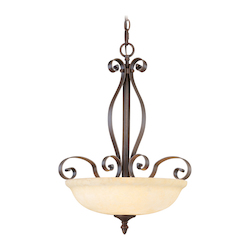 Imperial Bronze 3 Light 300W Pendant with Medium Bulb Base and Vintage Scavo Glass from Manchester Series