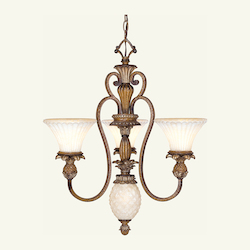 Venetian Patina 3 Light 180W Chandelier with Medium Bulb Base and Vintage Carved Scavo Glass from Savannah Series