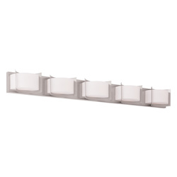 Brushed Nickel Wave 5 Light Bathroom Vanity Light