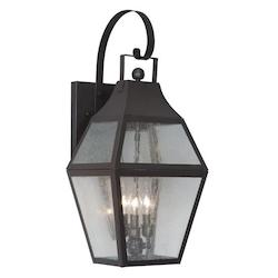 Bronze 3 Light 180W Outdoor Wall Sconce with Candelabra Bulb Base and Clear Seeded Glass from Augusta Series