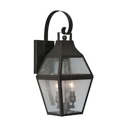 Bronze 2 Light 120W Outdoor Wall Sconce with Candelabra Bulb Base and Clear Seeded Glass from Augusta Series