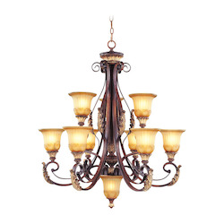 Verona Bronze 9 Light 540W Chandelier with Medium Bulb Base and Rustic Art Glass from Villa Verona Series