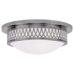 Brushed Nickel Westfield Flush Mount Ceiling Fixture with 3 Lights
