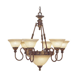Crackled Greek Bronze 8 Light 480W Chandelier With Medium Bulb Base And Vintage Scavo Glass From Sovereign Series