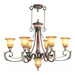 Verona Bronze 6 Light 600W Oval Chandelier with Medium Bulb Base and Rustic Art Glass from Villa Verona Series