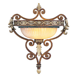 Palacial Bronze with Gilded Accents 1 Light 100W Up Lighting Wall Sconce with Medium Bulb Base and Hand Crafted Gold Dusted Art Glass from Seville Series