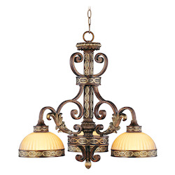 Palacial Bronze with Gilded Accents 3 Light 180W Chandelier with Medium Bulb Base and Hand Crafted Gold Dusted Art Glass from Seville Series
