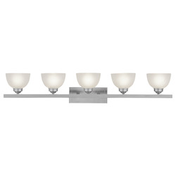 Brushed Nickel 5 Light 500 Watt 48In. Wide Bathroom Fixture With Satin Glass From The Somerset Collection