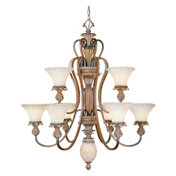 Venetian Patina 9 Light 540W Chandelier With Medium Bulb Base And Vintage Carved Scavo Glass From Savannah Series