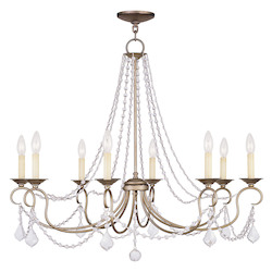 Antique Silver Leaf Up Chandelier
