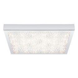 Chrome Cardito Single Light LED 14.33in. Wide Flush Mount Ceiling Fixture