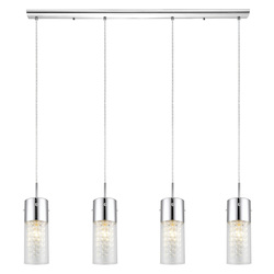 Chrome 4 Light Island / Billiard Fixture from the Diamond Collection