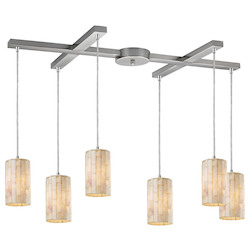 Six Light Satin Nickel Multi Light Pendant - ELK Lighting 10147/6
