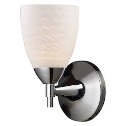 One Light Polished Chrome White Swirl Glass Wall Light - ELK Lighting 10150/1PC-WS-LED