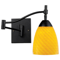 One Light Dark Rust Canary Glass Wall Light - 132352