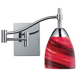 One Light Polished Chrome Autumn Glass Wall Light - 132385