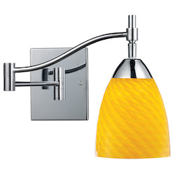 One Light Polished Chrome Canary Glass Wall Light - 132391