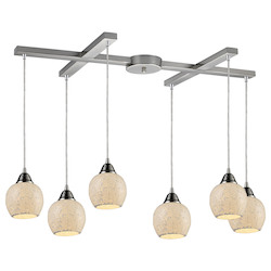 Six Light Satin Nickel Multi Light Pendant - ELK Lighting 10208/6CLD