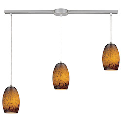 Three Light Satin Nickel Multi Light Pendant - ELK Lighting 10220/3L-sun