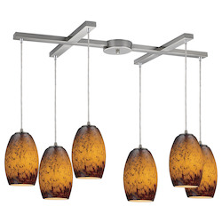 Six Light Satin Nickel Multi Light Pendant - ELK Lighting 10220/6sun