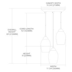 Three Light Satin Nickel Multi Light Pendant - ELK Lighting 10222/3che