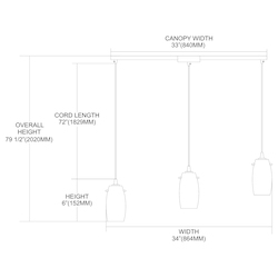 Three Light Satin Nickel Multi Light Pendant - 132961