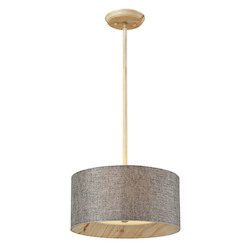 Three Light Washed Pine Drum Shade Pendant - 133668
