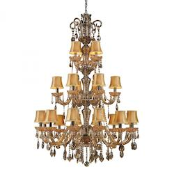 Twenty One Light Black Nickel/Tan Crystal Golden Amber Glass Up Chande - ELK Lighting 24003/12+6+3