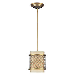 One Light Brushed Antique Brass Drum Shade Mini Pendant - 134475
