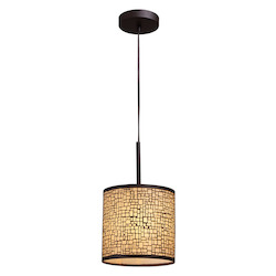 One Light Aged Bronze Drum Shade Pendant - ELK Lighting 31045/1