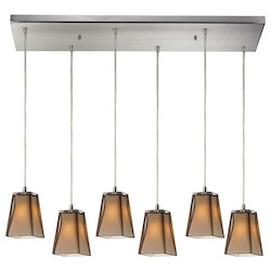 Six Light Satin Nickel Multi Light Pendant - ELK Lighting 31143/6rc