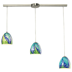 Colorwave Collection 3 Light Chandelier In Satin Nickel - 134971