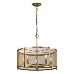 Rialto Collection 5 Light Pendant In Aged Brass - ELK Lighting 31483/5