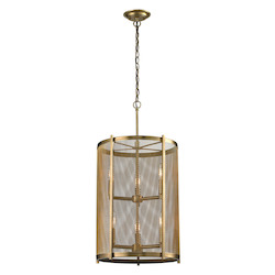 Rialto Collection 3+3 Light Pendant In Aged Brass - ELK Lighting 31484/3+3