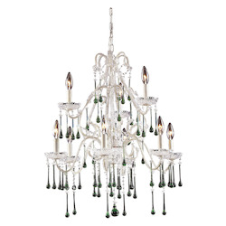 Nine Light Antique White Up Chandelier - 135110