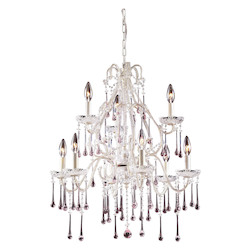 Nine Light Antique White Up Chandelier - ELK Lighting 4003/6+3RS