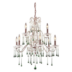 Nine Light Rust Up Chandelier - 135130
