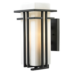Croftwell Collection 1 Light Outdoor Sconce In Textured Matte Black - ELK Lighting 45086/1