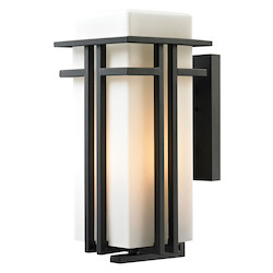 Croftwell Collection 1 Light Outdoor Sconce In Textured Matte Black - ELK Lighting 45087/1