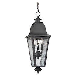 Forged Brookridge Collection 3 Light Outdoor Pendant In Charcoal - ELK Lighting 47104/3