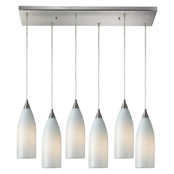 Six Light Satin Nickel Multi Light Pendant - ELK Lighting 522-6rc-ws